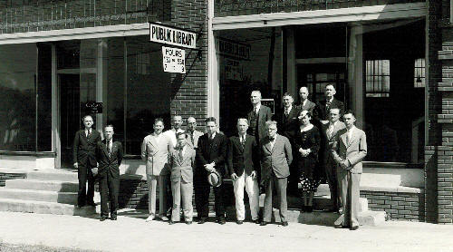 historic image of people in front of the library in Cleveland, OK