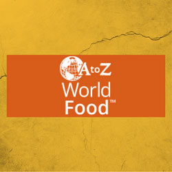 Image of globe with text A to Z World Food.