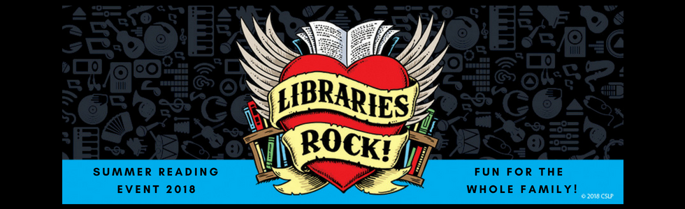 summer reading event 2018. fun for the whole family! libraries rock heart logo.