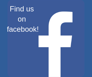 """Facebook icon with the words, """"Find us on facebook!"""""""