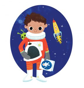 Boy in astronaut suit holding a book while a little alien peeks over his shoulder and a rocketship blasts off in the background.