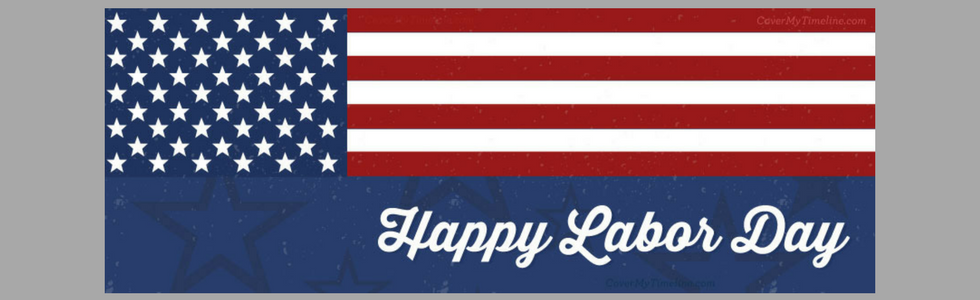 "American Flag with a banner saying ""happy labor day"""