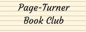 Page-Turner Book Club title on lined background.