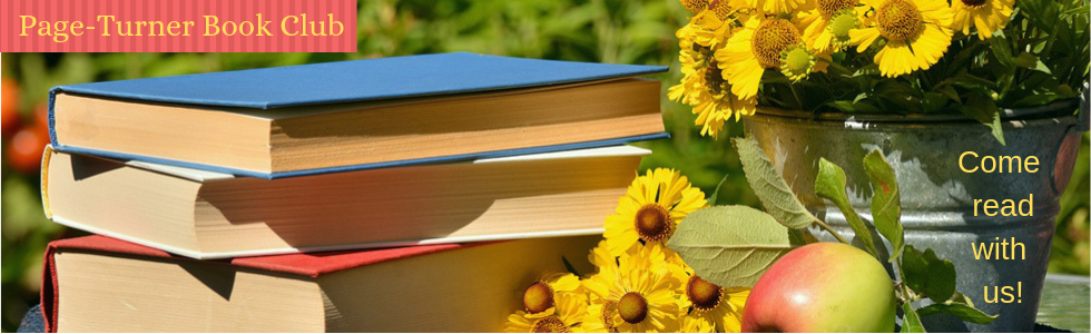 "Picture of a stack of books and a bucket of flowers with the words, ""Page-turner book club"" and ""Come read with us!"""