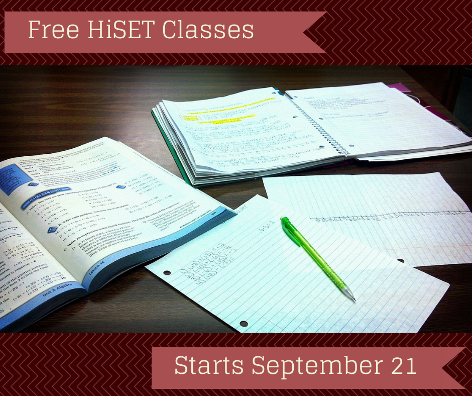 Free HiSet Classes. Starts September 21st.
